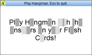 StudyMinder Flash Card with a game of Hangman